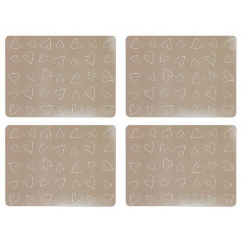 Heart Cork Backed Placemats Set of 4